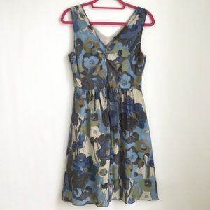 Banana Republic Blue Floral Silk Dress Sleeveless